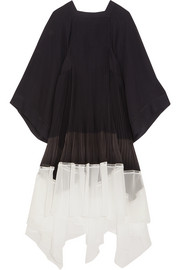 Chloé Asymmetric pleated chiffon midi dress