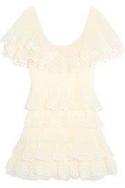 Tiered plissé silk-organza mini dress