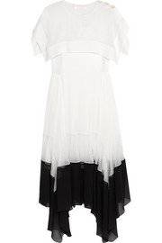 Pleated crepe and chiffon midi dress