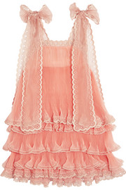 Chloé Tiered plissé silk-organza mini dress
