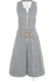 Chloé Open-back striped cotton jumpsuit