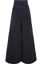 Chloé Cotton-blend twill wide-leg pants