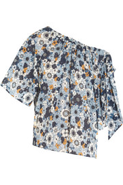 Chloé Bow-embellished printed cotton-gauze top