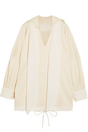 Oversized silk-trimmed cotton-jersey top
