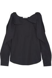 Chloé Cutout bow-detailed cotton-poplin top