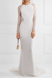 Embroidered lace and cady gown