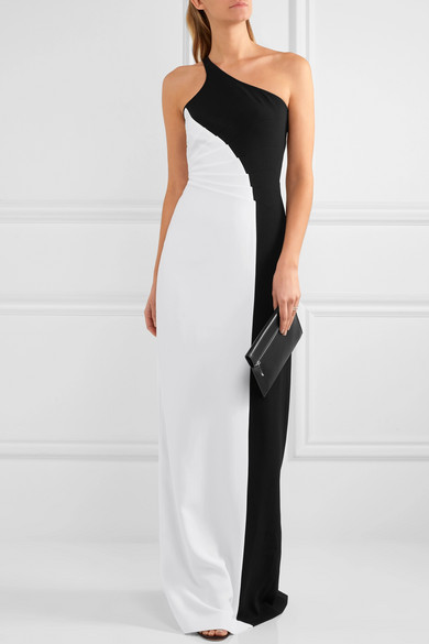 Stella Mccartney Woman Natalia One-shoulder Two-tone Stretch-cady Gown White Size 38 Stella McCartney s8VH5