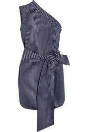 One-shoulder pinstriped cotton-poplin top