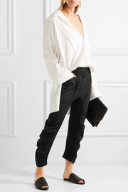 Stella McCartney Jersey-paneled gathered wool-twill tapered pants