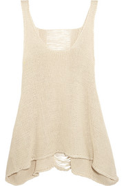 Distressed open-knit linen tank