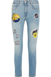 Stella McCartney All Is Love embroidered mid-rise skinny jeans