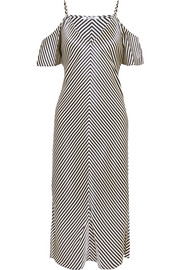 T by Alexander Wang Cold-shoulder striped silk-satin midi dress