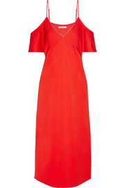 T by Alexander Wang Cold-shoulder chain-trimmed stretch-crepe midi dress