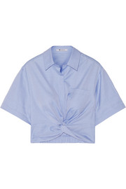 T by Alexander Wang Cropped knotted cotton-twill shirt
