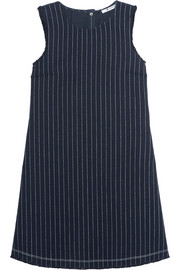 T by Alexander Wang Frayed pinstriped cotton-burlap mini dress