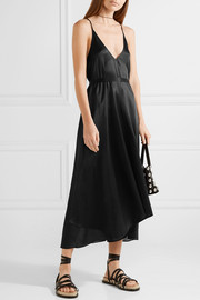 T by Alexander Wang Asymmetric belted chiffon-trimmed silk-charmeuse midi dress