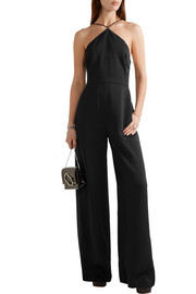 T by Alexander Wang Chain-embellished stretch-crepe halterneck jumpsuit