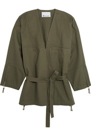 Belted cotton-twill jacket