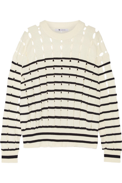 T by Alexander Wang - Cutout Striped Cotton Sweater - Off-white