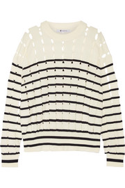 Cutout striped cotton sweater