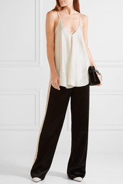 Chiffon-trimmed silk-charmeuse camisole