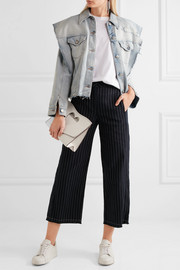 T by Alexander Wang Cropped pinstriped cotton-burlap wide-leg pants