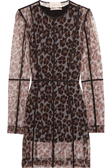 Christopher Kane - Leopard-print Stretch-mesh Mini Dress - Leopard print