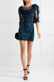 Ma embellished ruffled lace and stretch-tulle mini dress