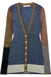 Color-block metallic stretch-knit cardigan