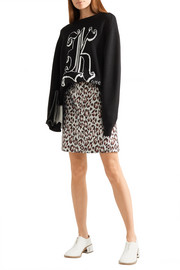 Leopard-jacquard mini skirt