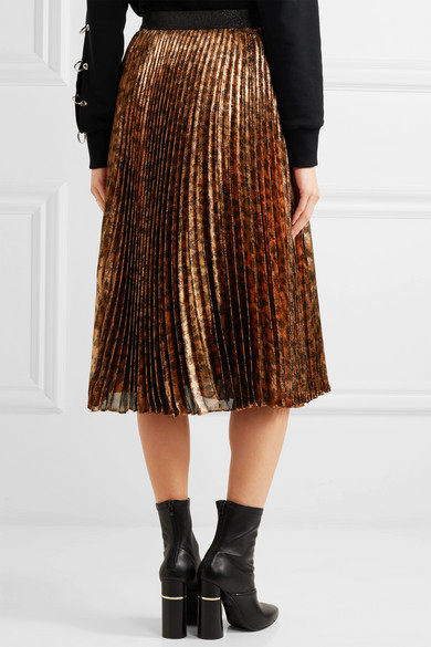 90f4b0a24 Christopher Kane. Pleated leopard-print silk-blend lamé midi skirt.  $343.50. Play