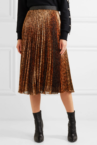 441db96c4 Christopher Kane   Pleated leopard-print silk-blend lamé midi skirt ...