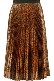 Pleated leopard-print silk-blend lamé midi skirt