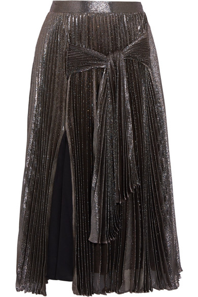 Christopher Kane - Pleated Silk-blend Lamé Midi Skirt - Metallic