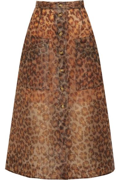 Christopher Kane - Leopard-print Rubberized Midi Skirt - Leopard print
