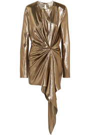 Saint Laurent Asymmetric draped silk-blend lamé mini dress