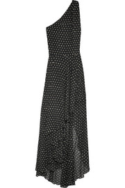 Saint Laurent One-shoulder asymmetric polka-dot silk-georgette gown