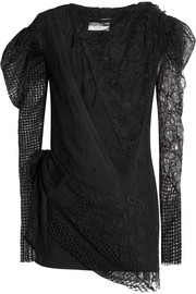 Saint Laurent Lace and mesh-paneled crepe mini dress
