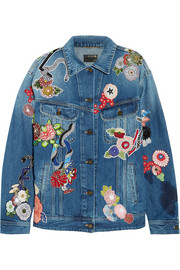 Saint Laurent Oversized appliquéd denim jacket