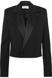 Saint Laurent Cropped satin-trimmed wool-twill blazer