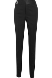 Satin-trimmed wool pants