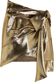 Saint Laurent Bow-embellished silk-blend lamé mini skirt