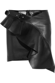 Saint Laurent Ruffled asymmetric leather mini skirt