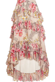 Tiered ruffled floral-print cotton and silk-blend maxi skirt