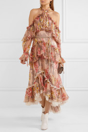 Tiered ruffled floral-print silk-chiffon halterneck gown