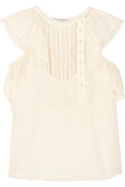 Ruffled Swiss-dot, lace and cotton-muslin blouse