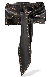 Knotted studded leather waist belt