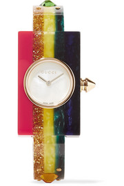Embellished Plexiglas and gold-tone watch