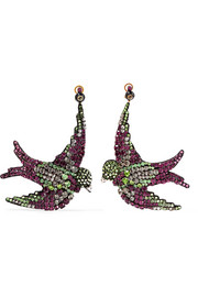 Gucci Swallow gunmetal-tone, crystal and silk clip earrings