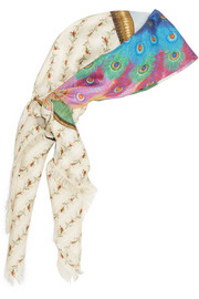 Loved Peacock printed silk scarf